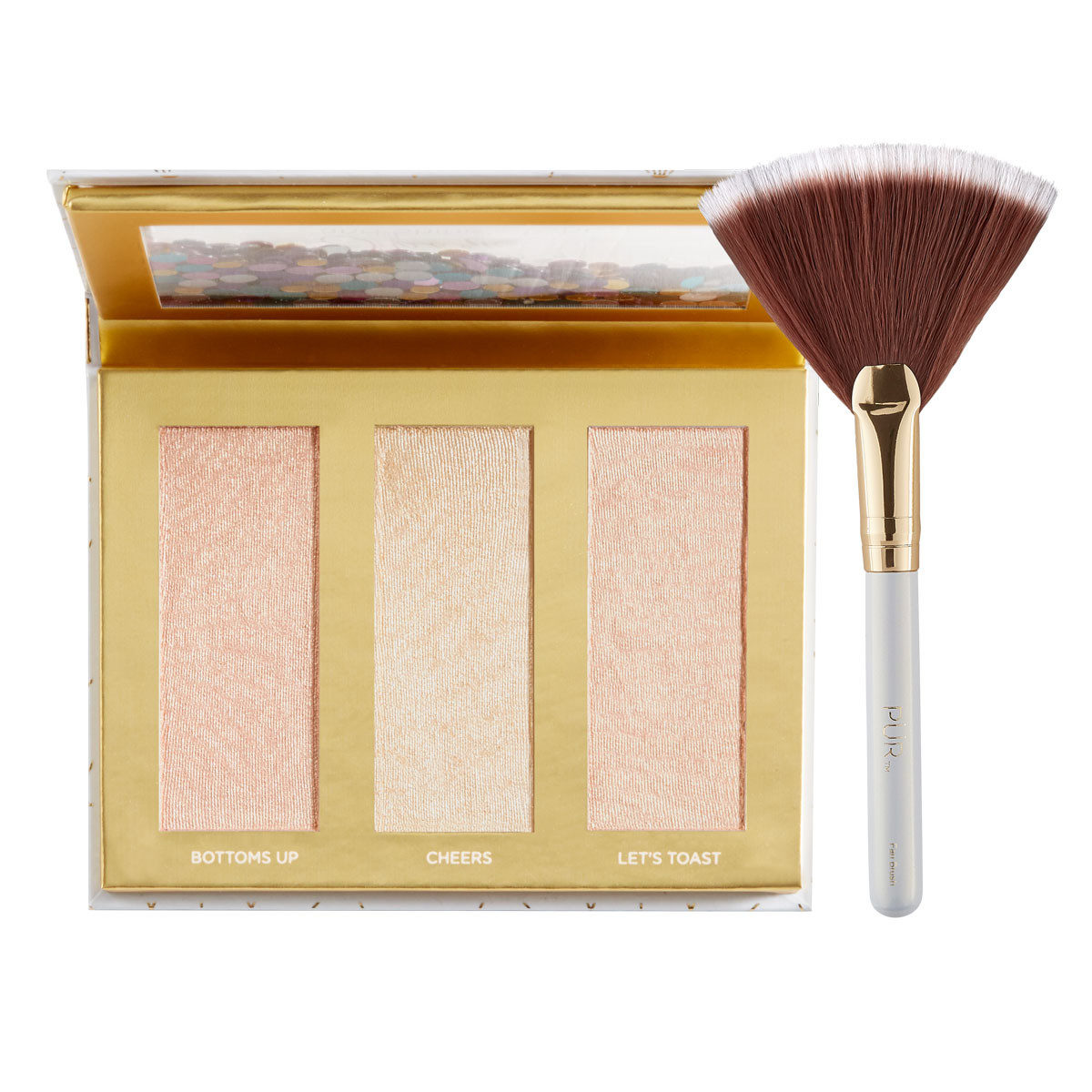 Sparkle and Shine Bright Travel Highlighter Palette + Fan Brush